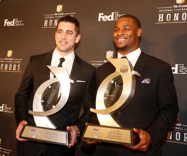 XXX poses in the press room the 4th annual NFL Honors at the Phoenix Convention Center Symphony Hall on Saturday, Jan. 1, 2015. (Photo by Colin Young-Wolff/Invision for NFL/AP Images)