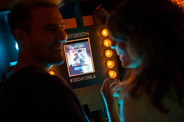 Guests use the photo booth at School Night, part of Red Bull Sound Select Presents 30 Days in LA, at Bardot, in Los Angeles, CA, USA on 16 November, 2015.