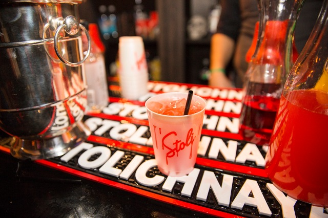The Stoli Vampire Kiss, a signature cocktail at the 2015 Maxim Halloween Party, sits at the Stoli bar at the Beverly Hills Estate in Beverly Hillis, CA on October 24, 2015. Stoli, THE Vodka, was the official liquor of the 2015 Maxim Halloween Party. (Photo by Colin Young-Wolff/Invision for Stoli/AP Images)