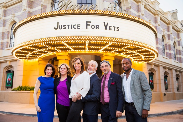 Justice for Vets Senior Director Melissa Fitzgerald and the cast of The West Wing, Mary McCormick, Allison Janney, Brad Whitford, Richard Schiff and Dule Hill before the premiere of the Justice For Vets West Wing PSA at Warner Bros. Studios on Tuesday, March 8, 2016 in Burbank, CA. (Colin Young-Wolff/AP Images for Justice for Vets)