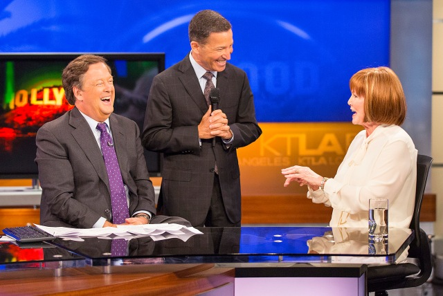 Television Academy Chairman and CEO Bruce Rosenblum, surprises Stephanie Edwards by announcing she is this year's recipient of the esteemed Los Angeles Area Governors Award during the KTLA News at 9am on Thursday, June 9, 2016 in Los Angeles. Edwards will be honored at the 68th Los Angeles Area Emmy Awards on Saturday, July 23, 2016. (Photo by Colin Young-Wolff/Invision for the Television Academy/AP Images)